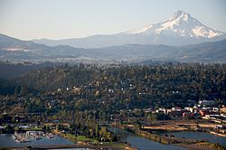 Aerial photo of the city of Hood River