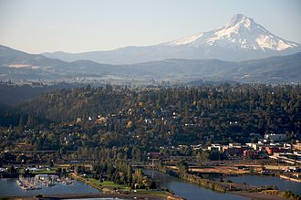 Hood River, Oregon - Aerial photo of the city of Hood River