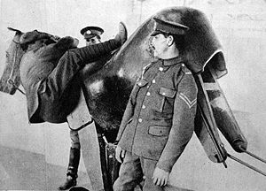 Wooden  mechanical horse simulator during WWI.
