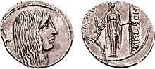 Photograph of two sides of a Roman coin from 48 BC
