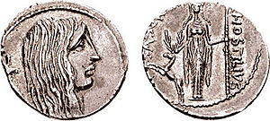 Gallic Wars - Denarius from 48 BC, thought to depict an allegory of Gaul with a carnyx on the obverse and Diana of Ephesus with a stag on the reverse