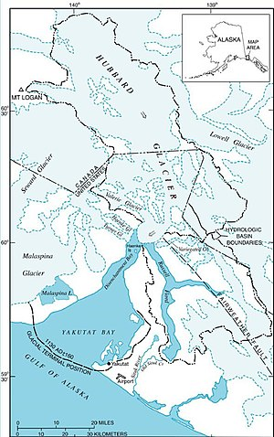 Hubbard Glacier - Map of Hubbard Glacier