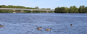 Huron River (Michigan) - Huron Parkway bridge over Geddes Pond viewed from Gallup Park, Ann Arbor
