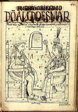 Sayri Túpac - Viceroy Don Andrés Hurtado de Mendoza receives Sayri Túpac Inca, King of Peru, and honors him in Lima
