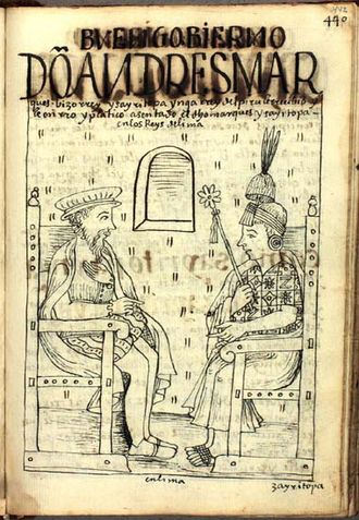 Sayri Túpac - Viceroy Don Andrés Hurtado de Mendoza receives Sayri Túpac Inca, King of Peru, and honors him in Lima