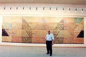 Hussein El Gebaly - Hussein el gebaly with his huge graphic art work