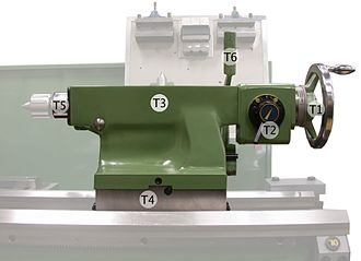 Metal lathe - Tailstock with legend, numbers and text within the description refer to those in the image