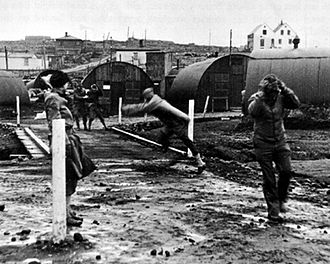 Iceland Base Command - Building Nissen Huts in a gale 1942