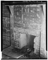 INTERIOR, WHITEHEAD CABIN (FRONT), DETAIL OF FIREPLACE - Henry Whitehead Place, Townsend, Blount County, TN HABS TENN,5-CADCO.V,1-9.tif