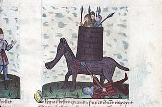 Speculum Humanae Salvationis - Miniature from a manuscript Speculum. Eleazar Maccabeus kills the elephant and is crushed.