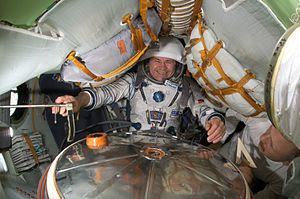 Nikolai Budarin - Nikolai Budarin, Expedition 6 flight engineer, is pictured in a Soyuz spacecraft that is docked to the ISS.