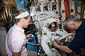 ISS-36 EVA-2 c Nyberg, Parmitano and Yurchikhin in the Quest airlock.jpg