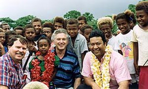 Max Bradford - Max Bradford (centre) with Ian Revell and Taito Phillip Field on a working MPs trip to Vanuatu in 1991.
