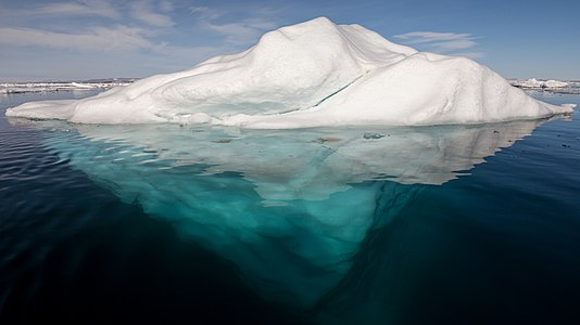 Iceberg in the Arctic with its underside exposed