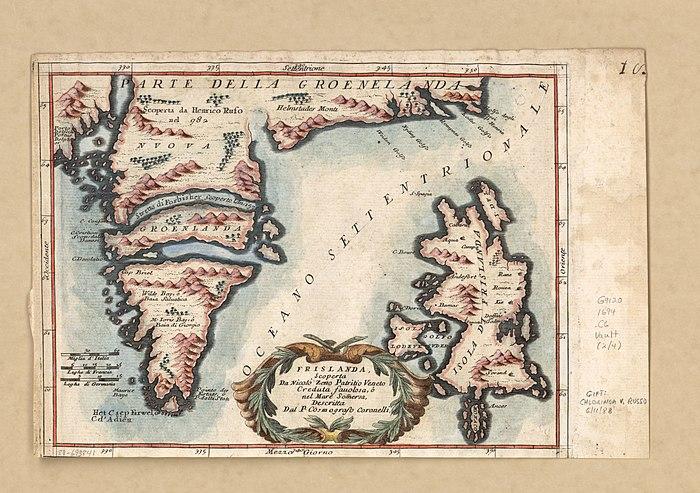 Frislanda og Parte della Groenelanda. 1692. Vincenzo Maria Coronelli (1615-1718). Commons.