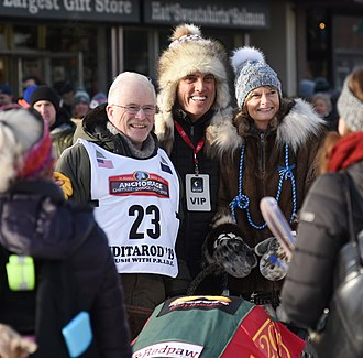 Lisa Murkowski and Verne Martell pose with Jeff King during the ceremonial start of the 2019 Iditarod. Iditarod Ceremonial Start. Fur Rondy 2019 (Lisa Murkowski and Verne Martell with Jeff King).jpg