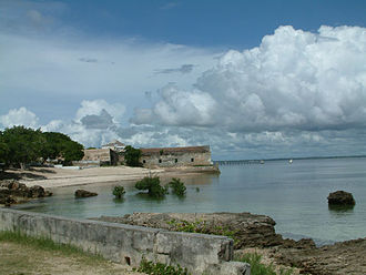 Portuguese India Armadas - Mozambique Island, with Fort São Sebastião in background