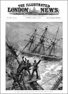 Front page of a newspaper, with a full-page drawing of two ships fighting a storm, with strong winds and violent seas. In the foreground waves are washing over the gunwales of a ship. Members of the crew are cheering another ship steaming past. The other ship is a sailing vessel, but no sails are set.