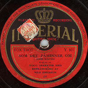 Imperial Records (1920) - Imperial label of the red type used in the early 1930s. This particular issue is an example of a record pressed for export, in this case to Sweden.