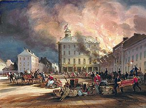 Great Fire of 1852 - Destruction of the Hays House in Dalhousie Square, 1852.