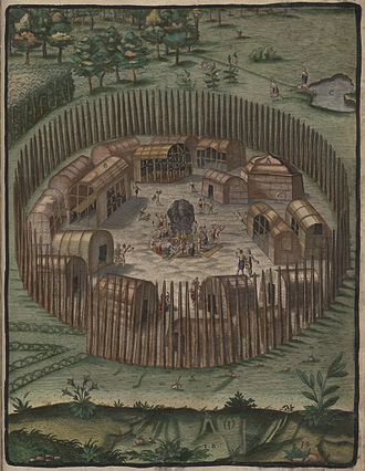 Theodor de Bry - The Towne of Pomeiooc, engraved illustration by de Bry accompanying Thomas Hariot's book of 1588 A Briefe and True Report of the New Found Land of Virginia