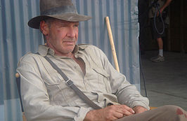 Harrison Ford als actieheld Indiana Jones op de set van de 4e Indiana Jonesfilm.