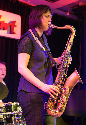 English: Ingrid Laubrock, Jazz saxophonist; Pi...