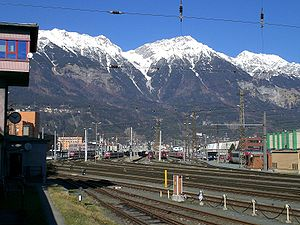 Brenner Railway - Innsbruck station at the north end of the Brenner railway