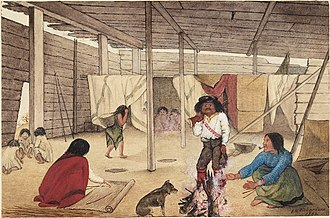Longhouse - Interior of a Salish longhouse, British Columbia, 1864. Watercolour by Edward M. Richardson (1810–1874)