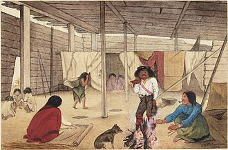 Longhouse - Interior of a Salish Longhouse, British Columbia, 1864. Watercolour by Edward M. Richardson (1810-1874).