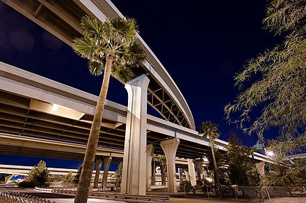 The Stack (Interstates 10 and 17) interchange at night in 2012 Interstate 10 and Interstate 17 Interchange at Night.2012.jpg