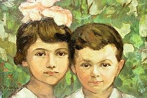 Română: Ipolit Strâmbu - Doi copii, semnat sta...