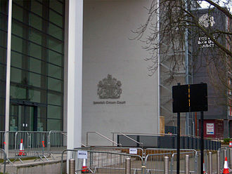 Ipswich serial murders - Ipswich Crown Court, with the 'media pen' specially erected for the court case. Sky News also constructed a shelter on the roof of a nearby building.