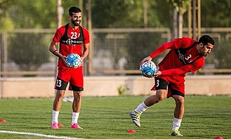 Ramin Rezaeian - Ramin Rezaeian and Ehsan Hajsafi in iran national football team training