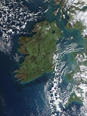Vue satellite de l'Irlande.
