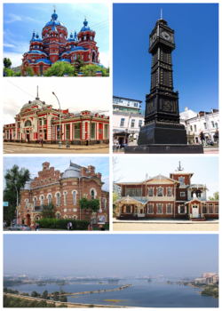 Clockwise, from the upper right corner: Clock Tower, Picture Gallery, Irkutsk panorama from the dam, Local Lore Museum, Khudozhestvenny Cinema, Kazan Church