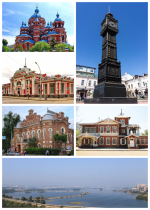 Irkutsk - Clockwise, from the upper right corner: Clock Tower, Picture Gallery, Irkutsk panorama from the dam, Local Lore Museum, Khudozhestvenny Cinema, Kazan Church
