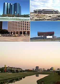 Clockwise from top left: Urban Towers at Las Colinas, the former Texas Stadium, Irving Convention Center at Las Colinas، هسته شهر Las Colinas دورنمای شهری، The Mustangs at Las Colinas