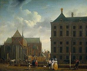 De Nieuwe Kerk met de achterkant van het Stadhuis