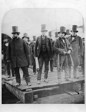 William Harrison (merchant navy officer) - William Harrison, Isambard Kingdom Brunel,  and others before the launch of the SS Great Eastern, 1857