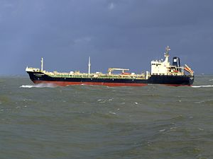 Ivan Kruzenshtern p7 leaving Port of Rotterdam, Holland 21-Jan-2007.jpg