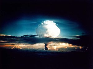 Nuclear weapon test Mike (yield 10.4 Mt) on Enewetak Atoll.