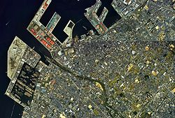 Izumiotsu city center area Aerial photograph.1985.jpg