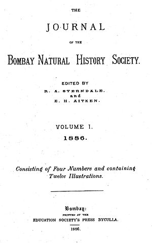 Bombay Natural History Society - Title page of volume 1, number 1, of the Journal of the Bombay Natural History Society, 1886.