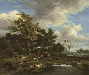 Wooded landscape with a stream, pool, shepherd and shepherdess