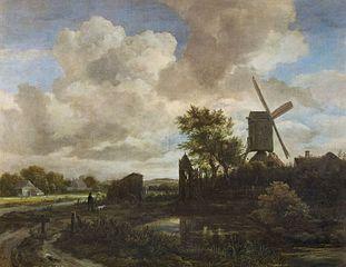 Paysage avec un moulin à vent dans la Soirée