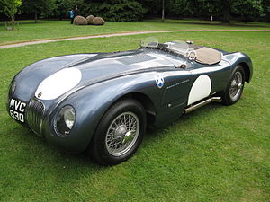 Jaguar C-Type - 1953 Jaguar C-Type in Ecurie Ecosse colours displayed at Dulwich Picture Gallery, 29 June 2014
