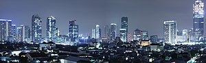 Jakarta skyline at night. Business District area at Jalan Rasuna Said, South Jakarta, as seen from Kuningan District, South Jakarta, Indonesia.jpg
