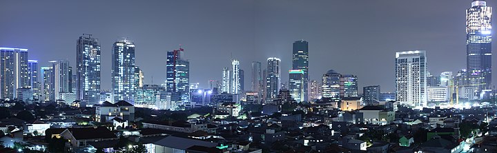 Jakarta skyline at night: Business District area at Jalan Rasuna Said, South Jakarta, as seen from Kuningan District, South Jakarta Jakarta skyline at night. Business District area at Jalan Rasuna Said, South Jakarta, as seen from Kuningan District, South Jakarta, Indonesia.jpg