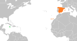Map indicating locations of Jamaica and Spain